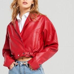 Storets Joan Dropped Shoulder Leather Jacket